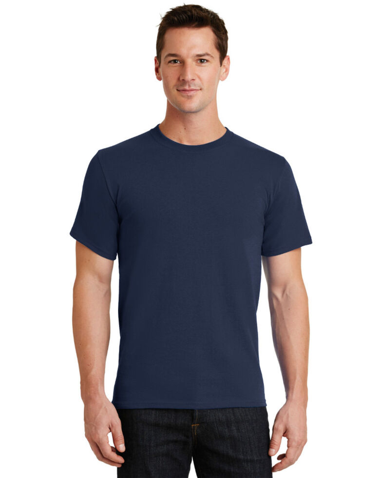 Port & Company Men's Essential Solid Long Sleeve Work T-Shirt , Navy, hi-res