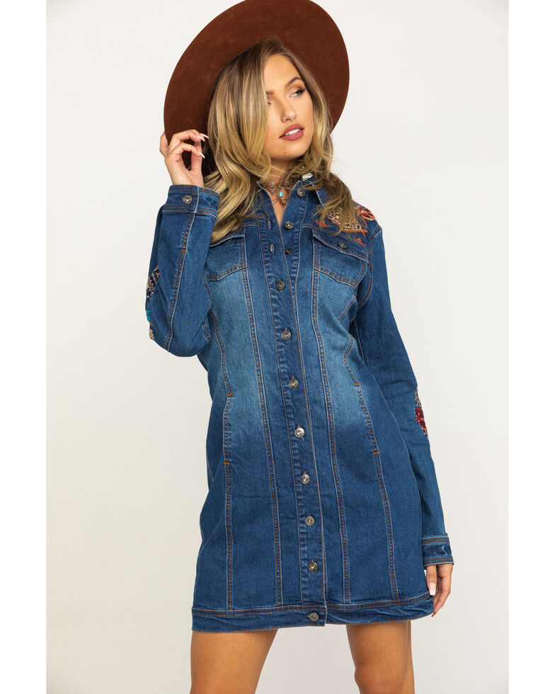 Stetson Women's Embroidered Denim Jacket Dress, Blue, hi-res