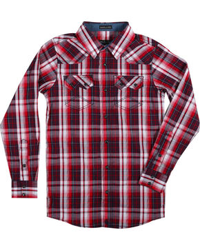 Cody James® Boys' Americana Plaid Long Sleeve Shirt , Red, hi-res
