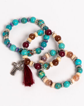 Shyanne Women's Guadalupe Multi-Beaded Bracelet Set, Multi, hi-res