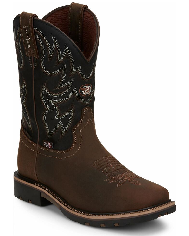 Justin Men's Fireman Black Western Boots - Square Toe, Tan, hi-res