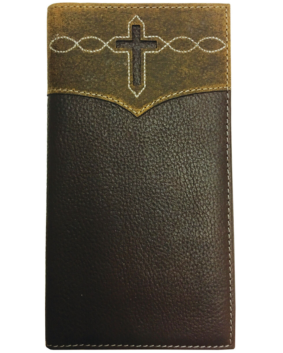 Roper Men's Brown Leather Cross Cut-Out Rodeo Checkbook Wallet , Brown, hi-res