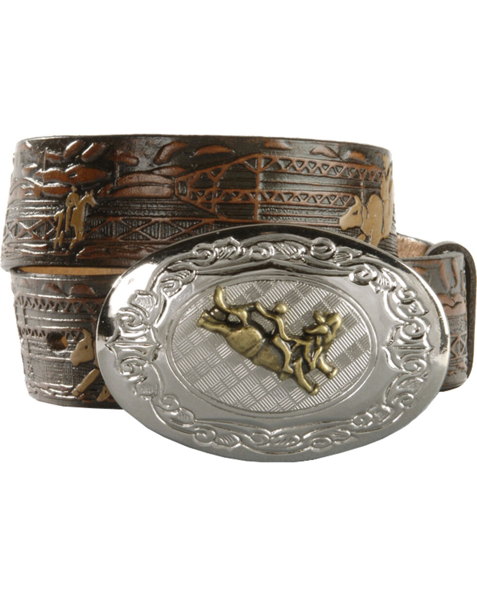 Nocona Boys' Bull Rider  Belt, Brown, hi-res