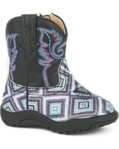 Roper Infant Boys' Cowbaby Glitter Diamonds Pre-Walker Cowboy Boots - Round Toe, Black, hi-res