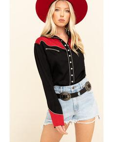 H Bar C Women's Black & Red Seattle Long Sleeve Western Shirt , Black/red, hi-res