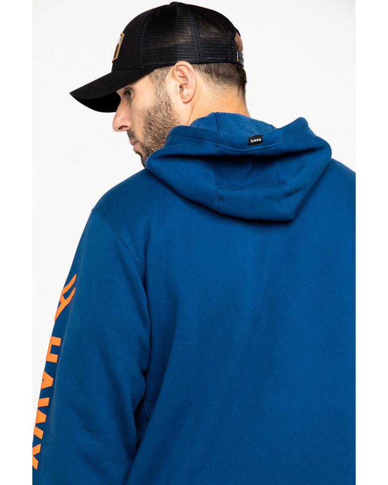 Hawx Men's Blue Logo Sleeve Performance Fleece Hooded Work Sweatshirt , Blue, hi-res
