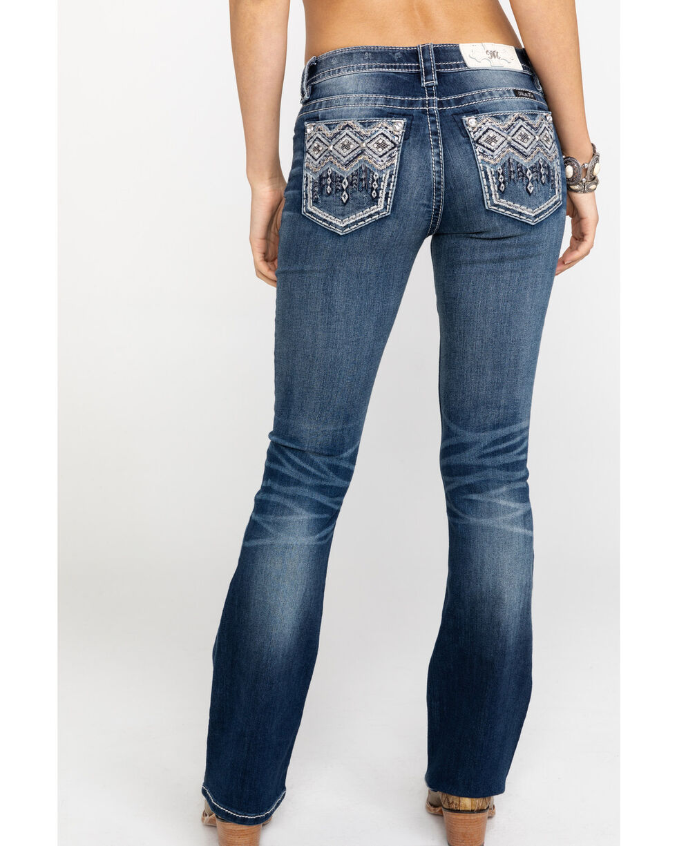 Miss Me Women's Free Falling Aztec Pocket Embroidered Boot Jeans , Blue, hi-res
