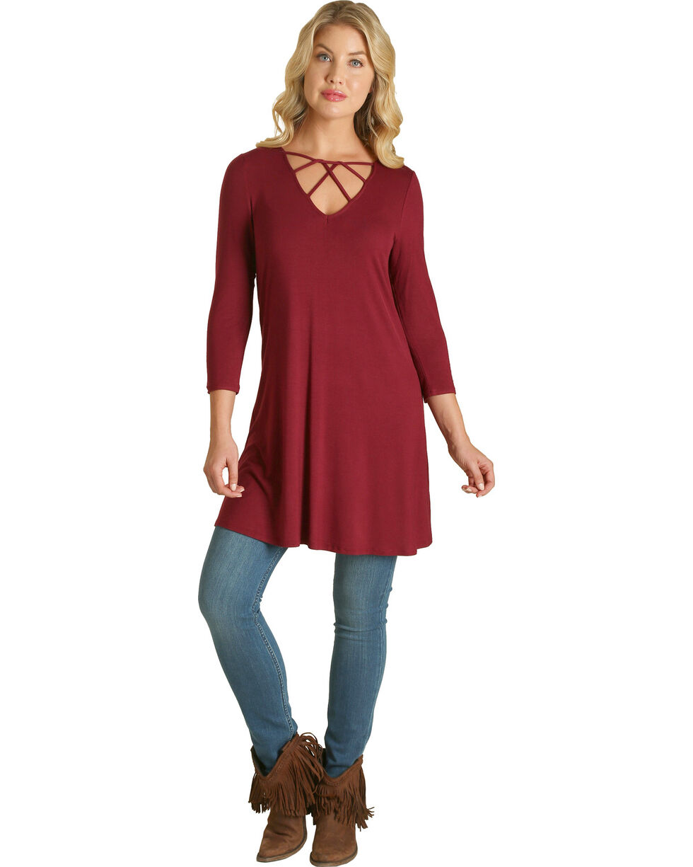 Wrangler Women's Rose Crossed Neckline Tunic , Pink, hi-res