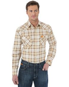 Wrangler Men's FR Khaki Plaid Long Sleeve Work Shirt, Khaki, hi-res