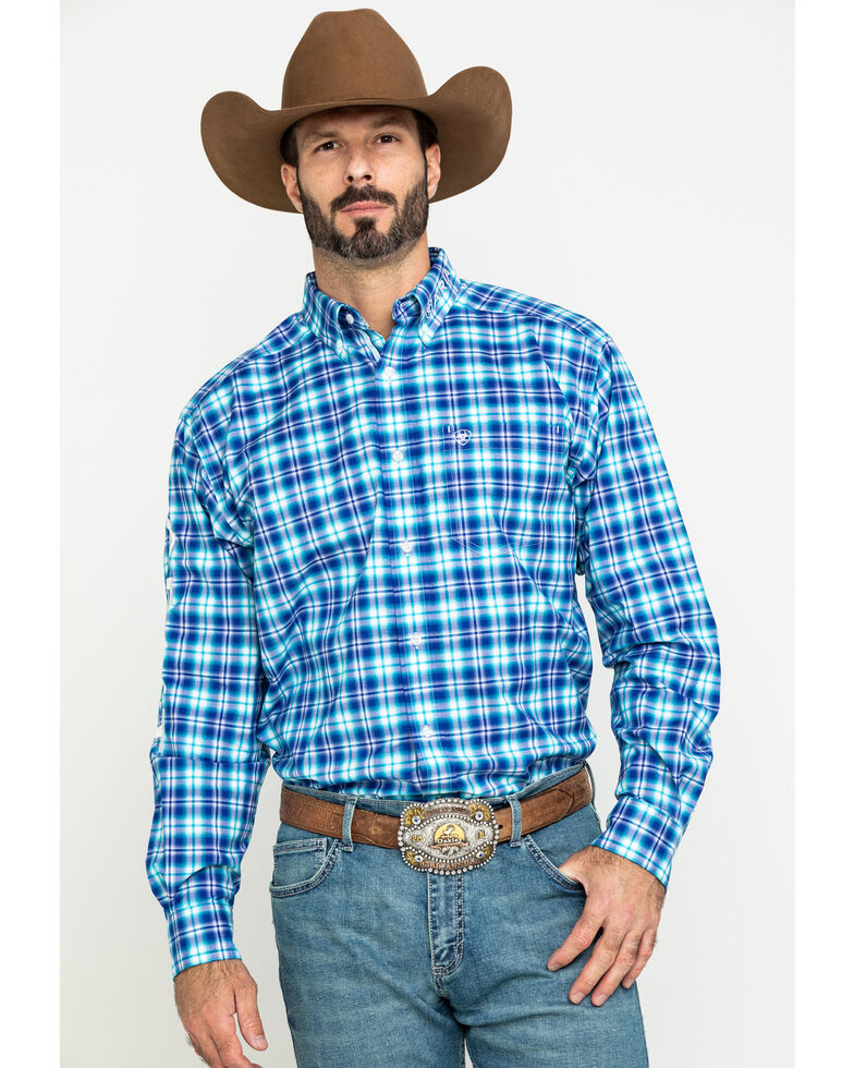 Ariat Men's Bennett Multi Plaid Long Sleeve Western Shirt , Multi, hi-res