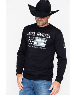 Jack Daniel's Men's American Flag Long Sleeve Shirt , Black, hi-res