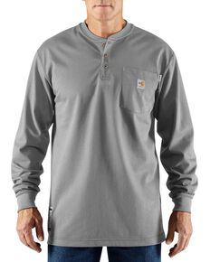 Carhartt Flame Resistant Henley Long Sleeve Work Shirt, Lt Grey, hi-res
