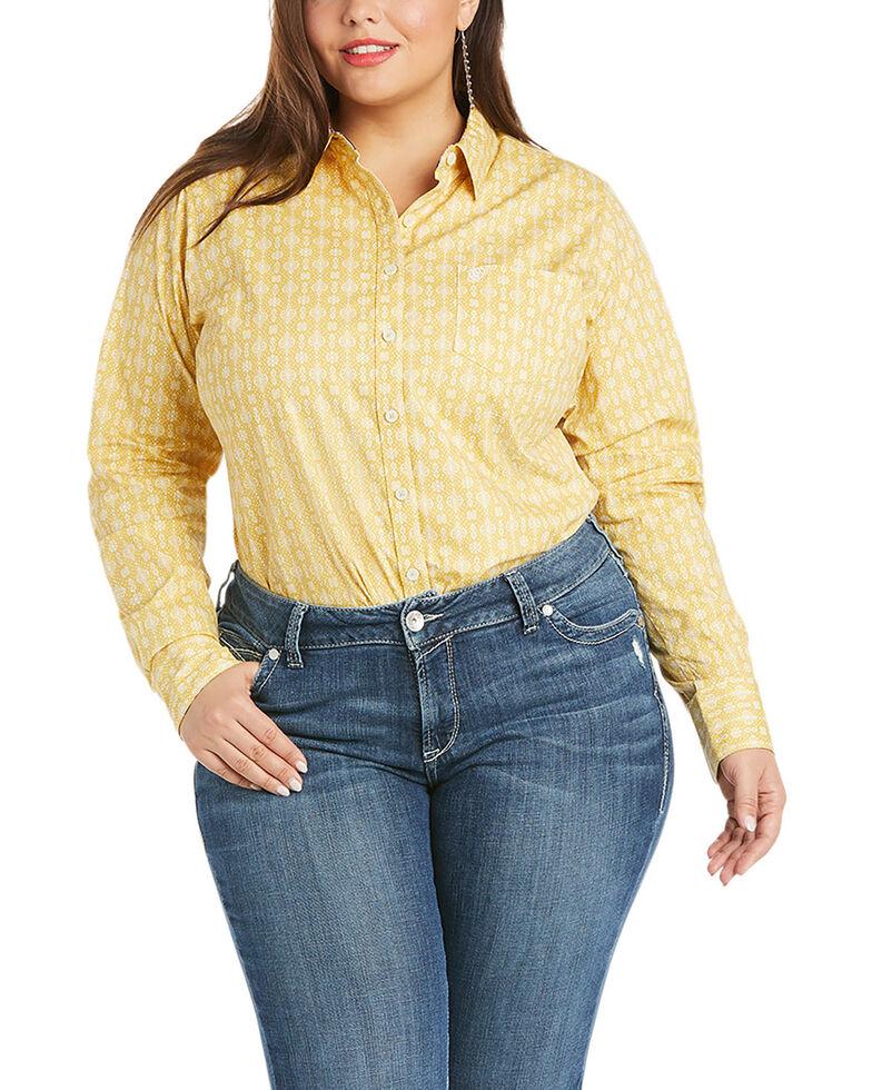 Ariat Women's Geo Print Kirby Long Sleeve Button-Down Western Core Shirt - Plus, Mustard, hi-res