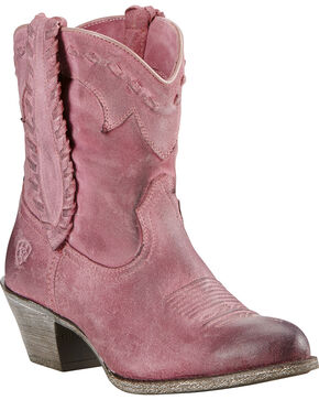 Ariat Women's Round Up Rianda Booties, Pink, hi-res