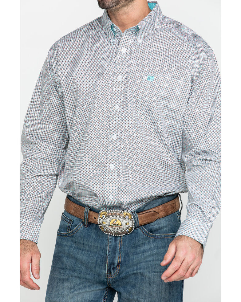 Cinch Men's Multi Small Geo Print Plain Weave Long Sleeve Western Shirt - Big , Multi, hi-res