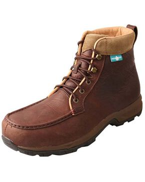 Twisted X Men's Waterproof Work Hiker Boots - Moc Toe, Dark Brown, hi-res
