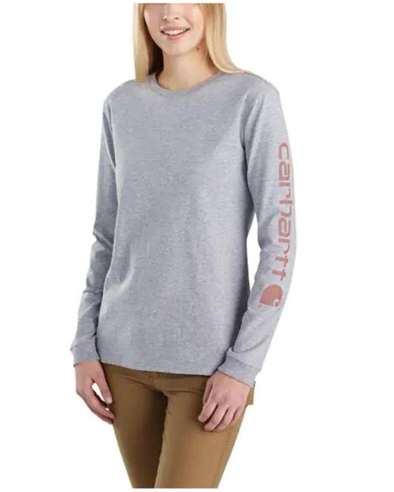 Carhartt Women's Graystone Logo Long Sleeve Work T-Shirt, Heather Grey, hi-res