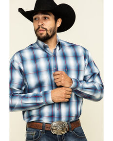 Stetson Men's Blue Large Ombre Plaid Long Sleeve Western Shirt , Blue, hi-res