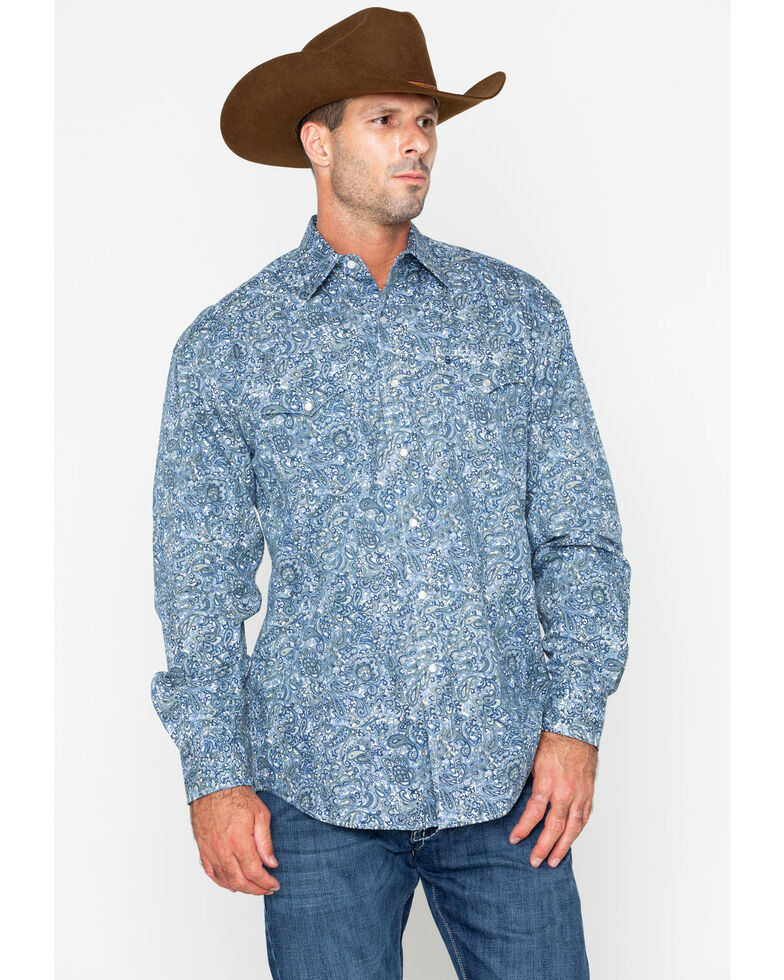 Stetson Men's Large Paisley Print Snap Long Sleeve Western Shirt , Blue, hi-res