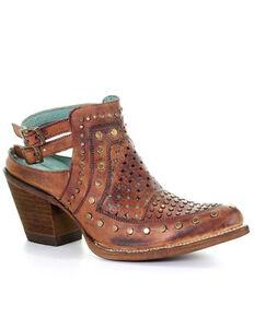 Corral Women's Cognac Stud & Woven Mules - Snip Toe, Black, hi-res