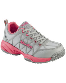 Nautilus Women's Grey and Pink Athletic Work Shoes - Composite Toe , Grey, hi-res