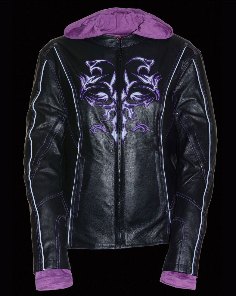 Milwaukee Leather Women's 3/4 Leather Jacket With Reflective Tribal Detail - 4X, Black/purple, hi-res