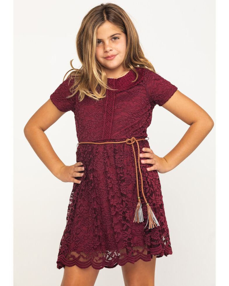 Shyanne Girls' Burgundy Lace Cap Sleeve Dress , Burgundy, hi-res