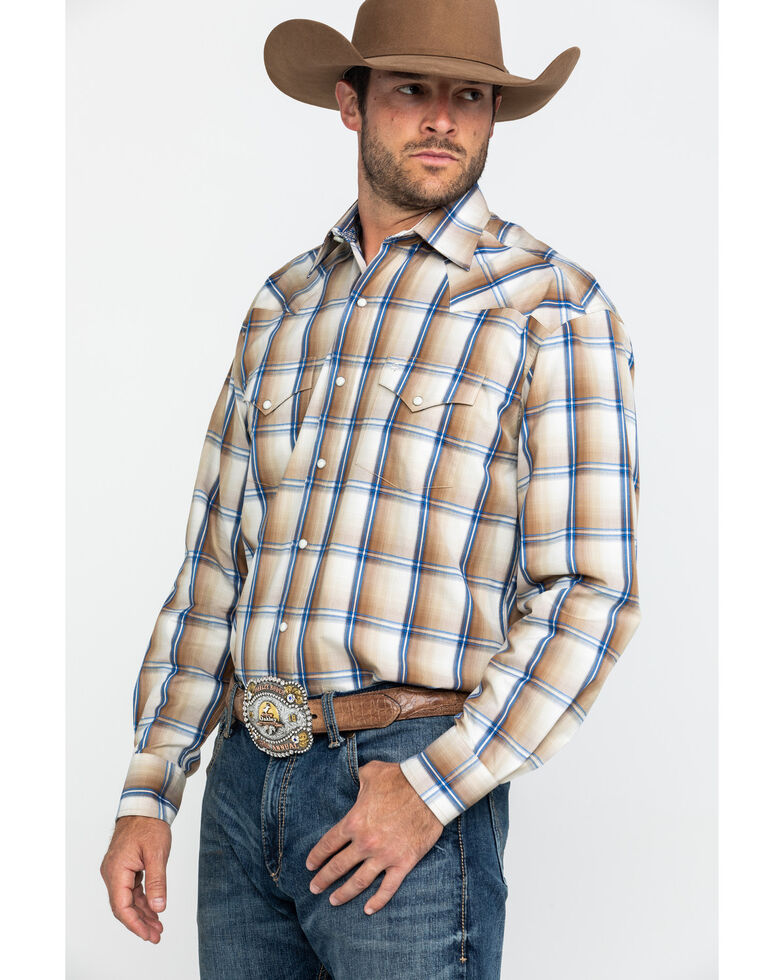 Roper Men's Wheat Ombre Plaid Long Sleeve Western Shirt , Brown, hi-res