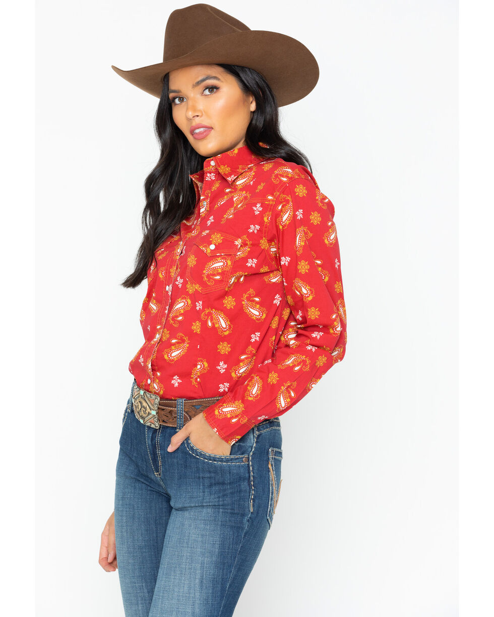 Wrangler Women's Red & Gold Paisley Long Sleeve Western Top, Red, hi-res