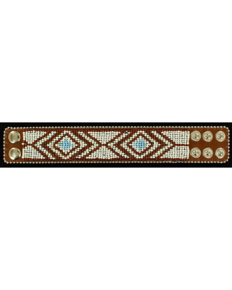 Blazin Roxx Beaded Tribal Cuff Bracelet, Brown, hi-res