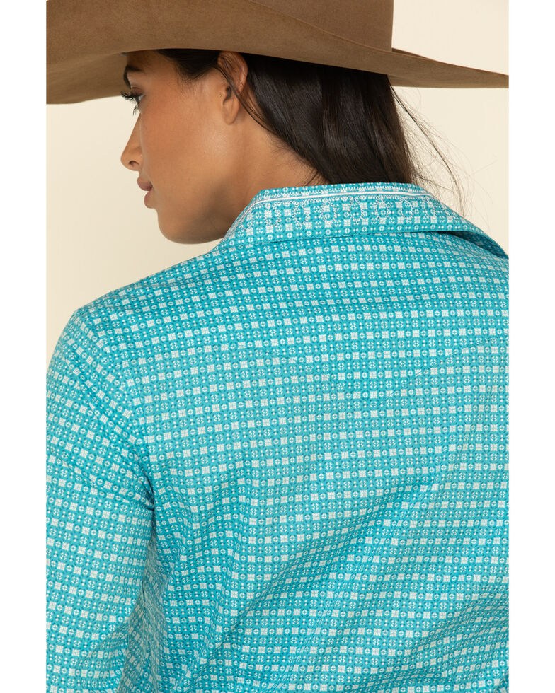 Rough Stock by Panhandle Women's Geo Print Snap Long Sleeve Western Shirt , Turquoise, hi-res