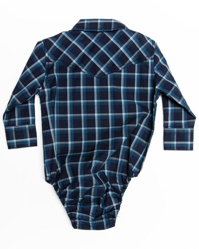 Cody James Infant Boys' Reins Plaid Long Sleeve Onesie , Navy, hi-res