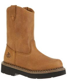 Georgia Wellington Kid's Boots - Round Toe, Brown, hi-res