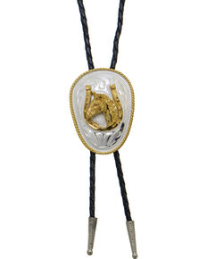 Western Express Men's German Silver Horsehead And Horseshoe Bolo Tie, Silver, hi-res