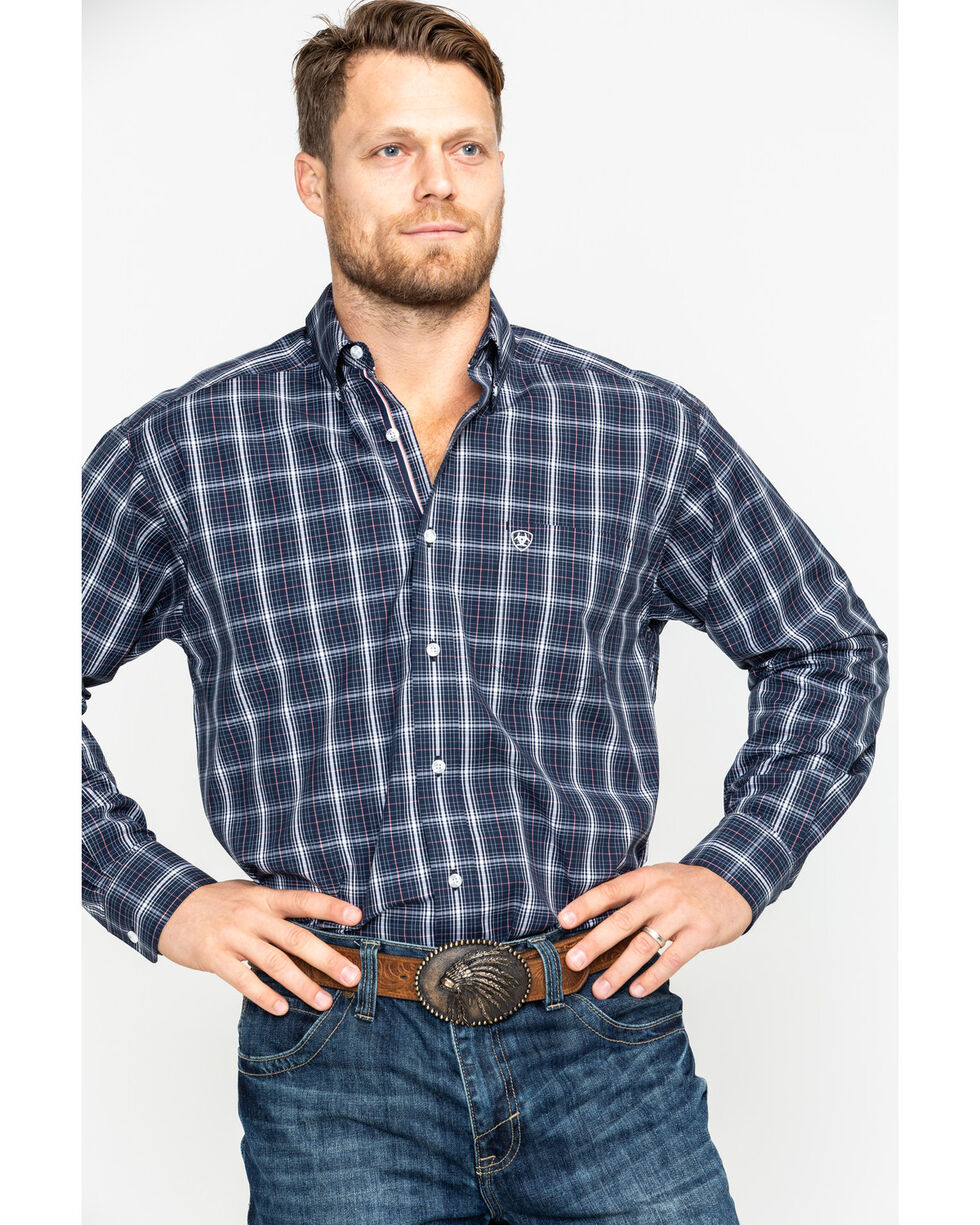 Ariat Men's Daytona Plaid Long Sleeve Western Shirt , Navy, hi-res
