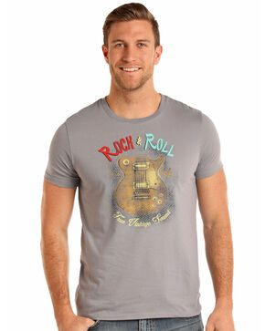 Rock & Roll Cowboy Men's Guitar Graphic T-Shirt, Grey, hi-res
