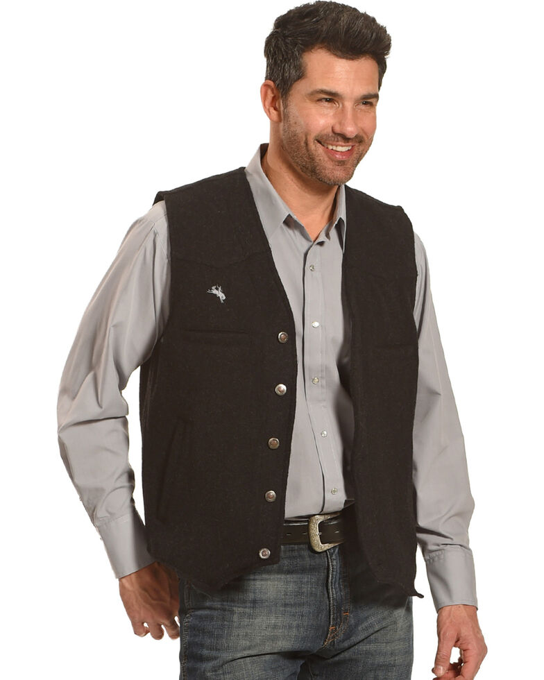Wyoming Traders Men's Black Wyoming Wool Vest, Black, hi-res
