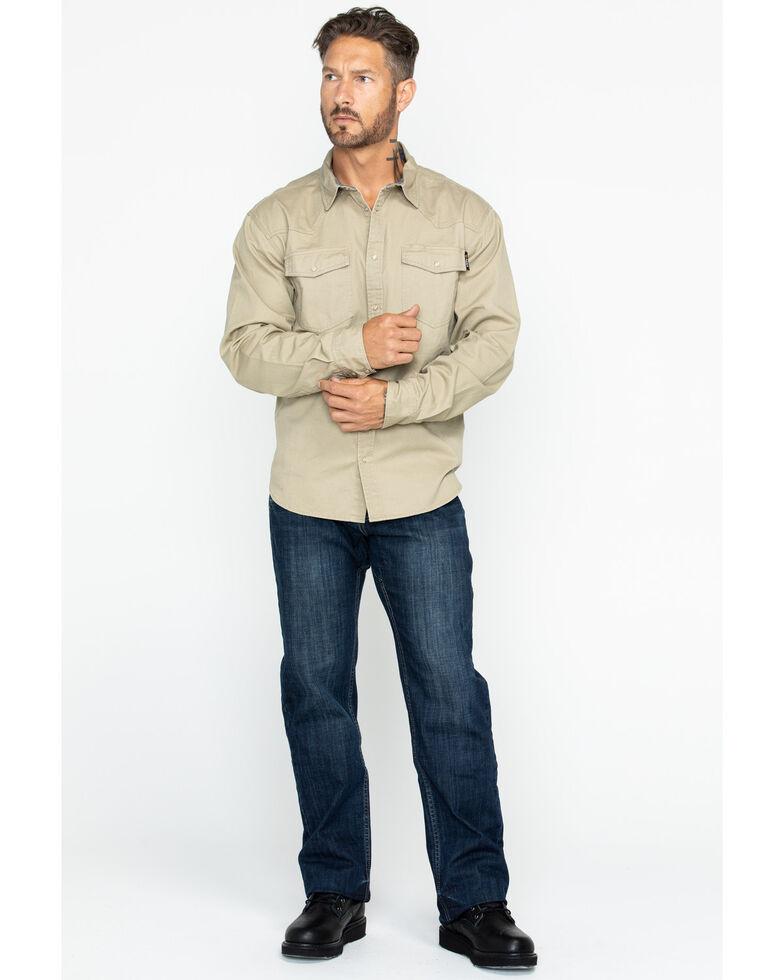 Hawx Men's Khaki Twill Snap Long Sleeve Western Work Shirt - Big , Beige/khaki, hi-res