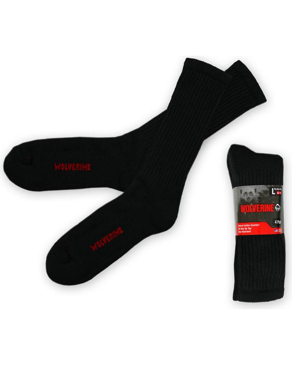 Wolverine Men's 4 Pack Work Socks, Black, hi-res