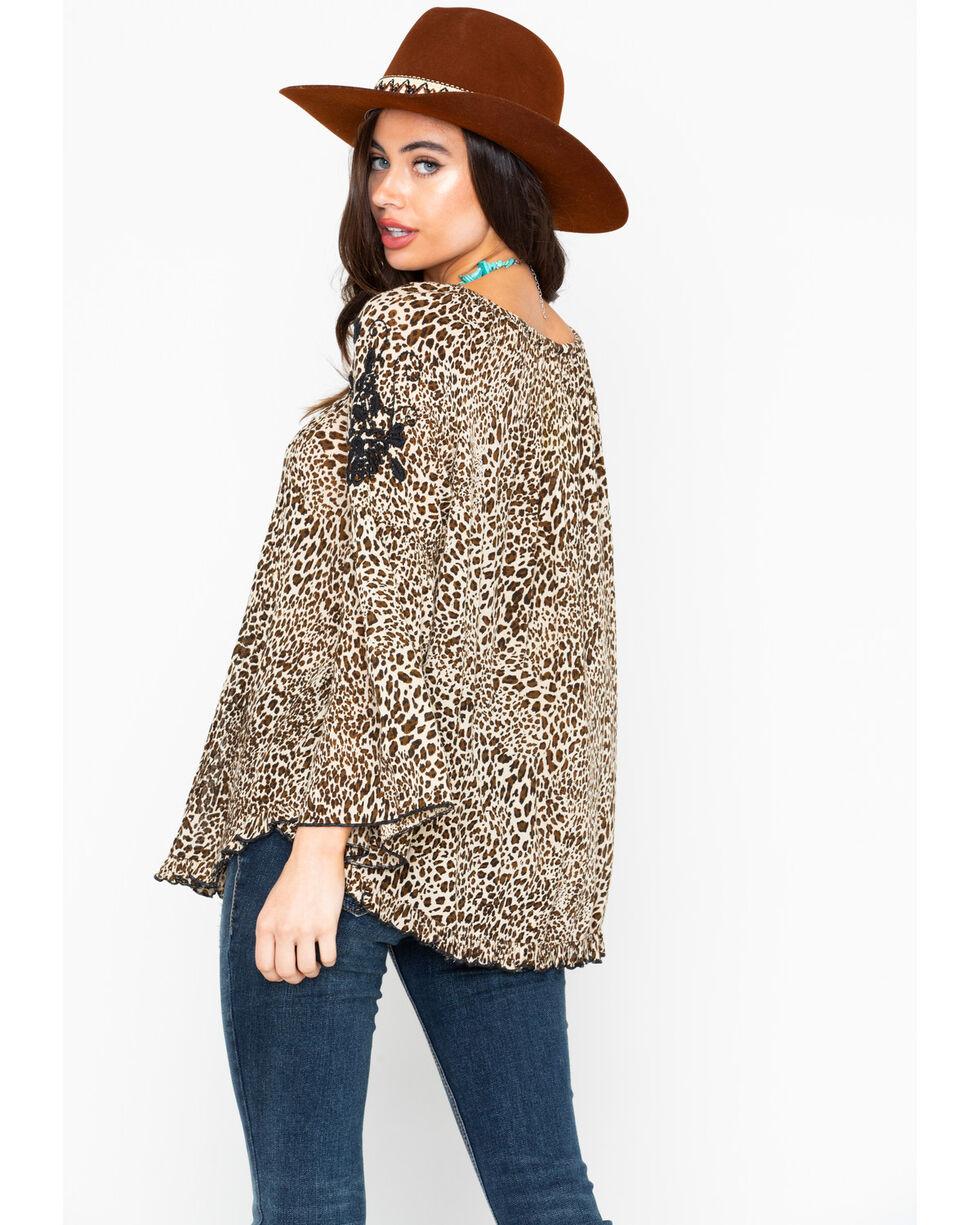 Bila Women's Leopard Peasant Embroidered Tassel Long Sleeve Top, Leopard, hi-res