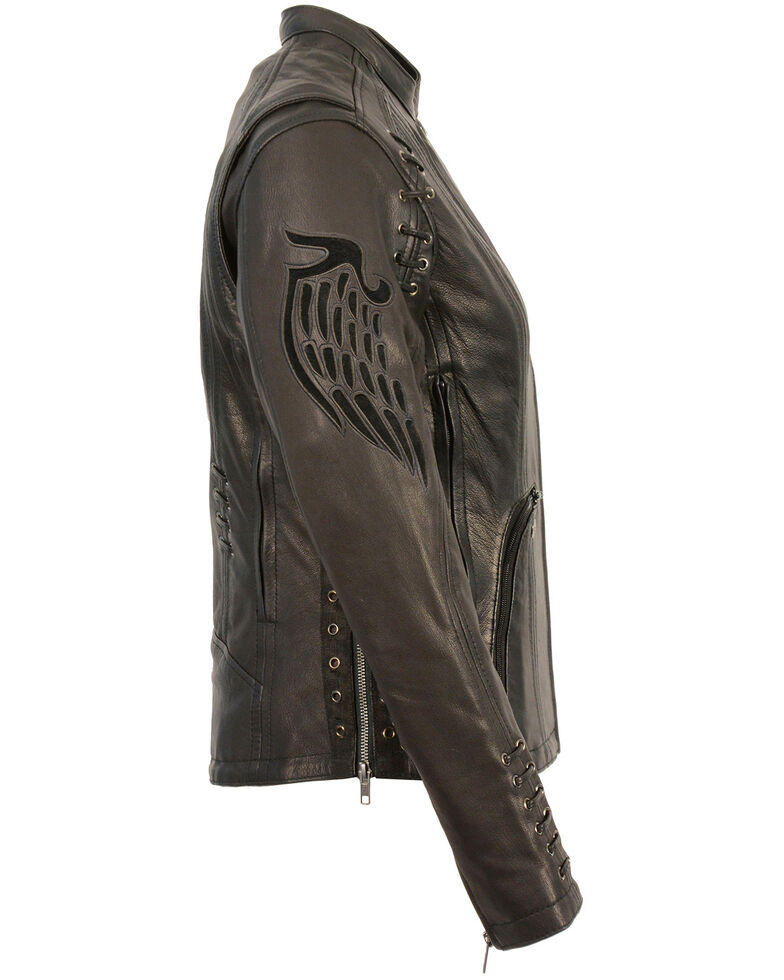 Milwaukee Leather Women's Lightweight Scuba Racer Leather Jacket - 4X, Black, hi-res