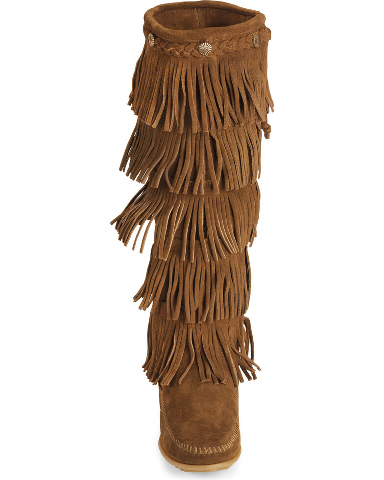 Minnetonka Fringed Suede Leather Boots, Dusty Brn, hi-res