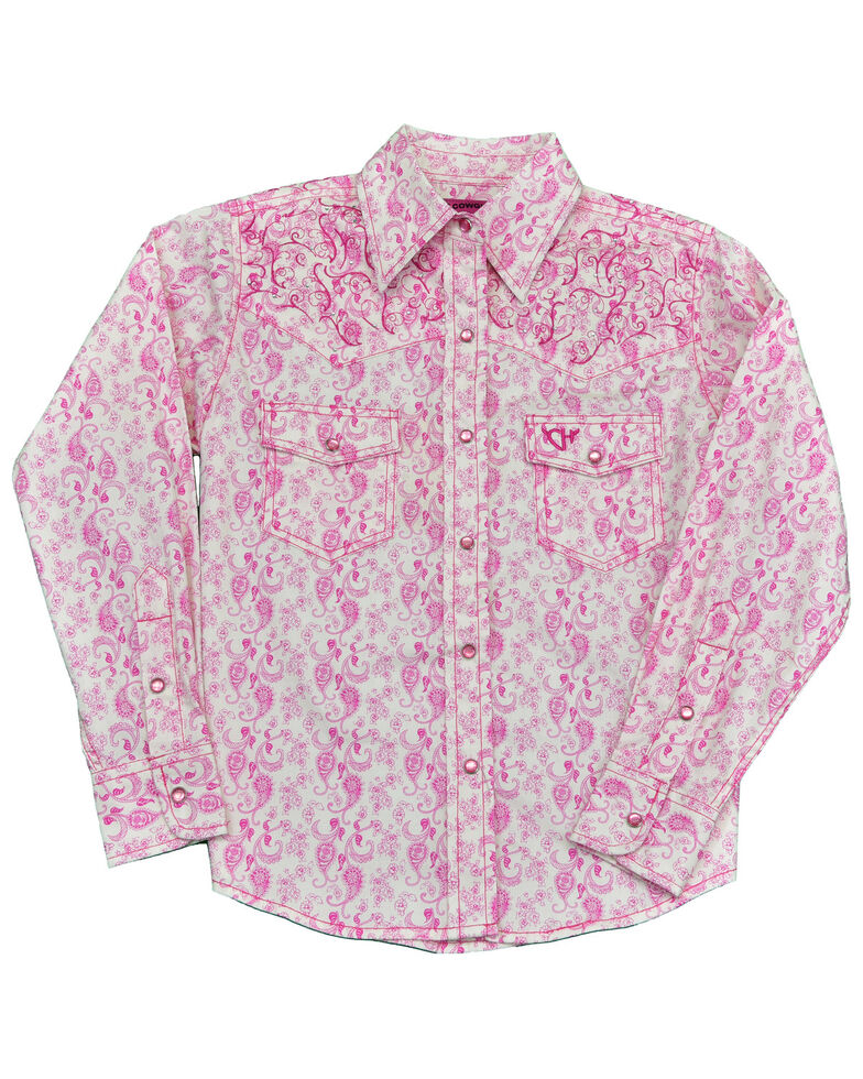 Cowgirl Hardware Toddler Girls' Pink Paisley Print Embroidered Long Sleeve Snap Western Shirt , Pink, hi-res