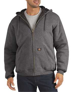 Dickie's Men's Heavyweight Quilted Fleece Hoodie, Dark Grey, hi-res