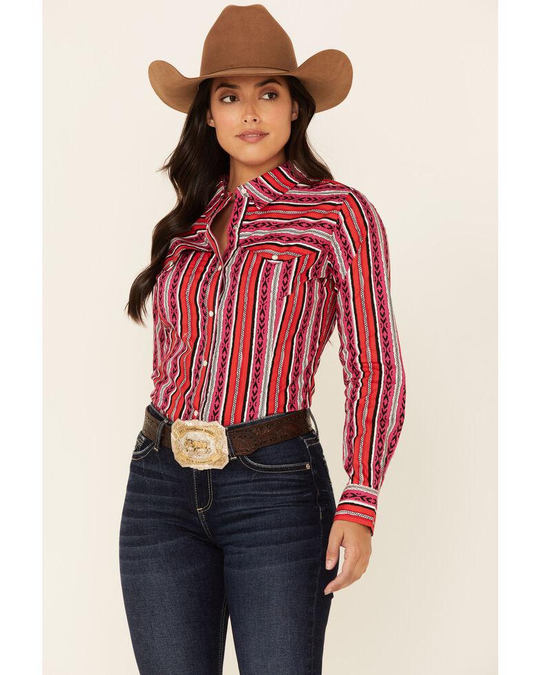 Wrangler Women's Punchy Aztec Stripe Long Sleeve Snap Western Shirt , Purple, hi-res