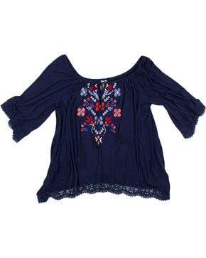 Eyeshadow Women's Plus Floral Embroidered Long Sleeve Blouse, Navy, hi-res