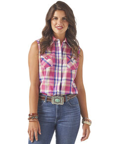 Wrangler Women's Pink Plaid Button Sleeveless Western Shirt, Pink, hi-res