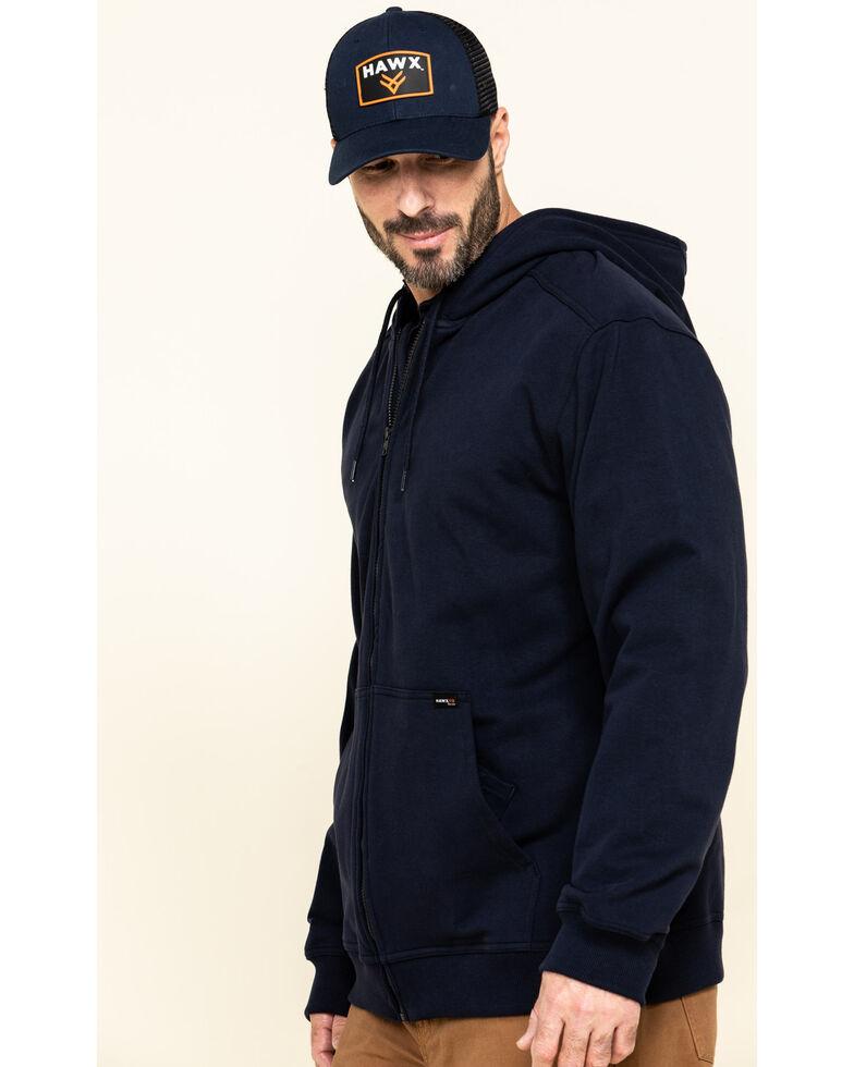 Hawx Men's FR Zip Up Fleece Work Hoodie , Navy, hi-res