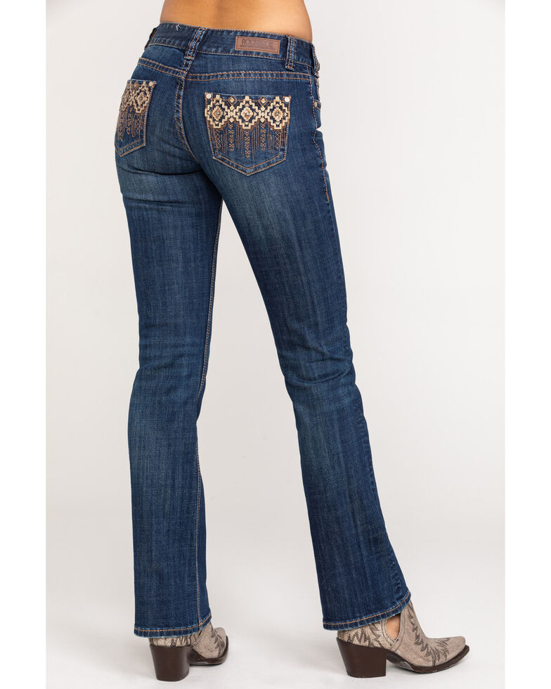 Rock & Roll Cowgirl Women's Aztec Dark Wash Mid-Rise Bootcut Jeans, Blue, hi-res