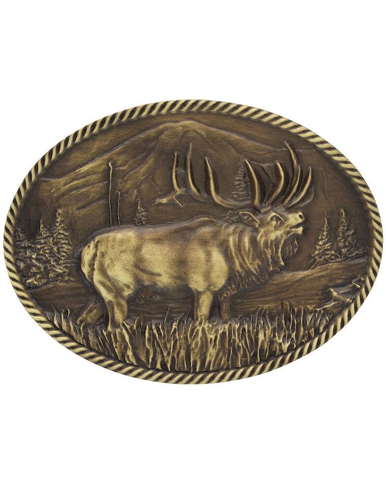 Montana Silversmiths Wild Elk Belt Buckle, Gold, hi-res